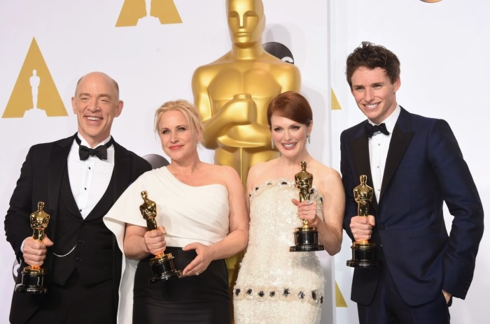here-are-this-years-four-big-winners-jk-simmons-best-supporting-actor-patricia-arquette-best-supporting-actress-julianne-moore-best-actress-and-eddie-redmayne-best-actor
